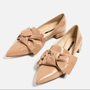 Zara Bow Front Patent Leather Flats